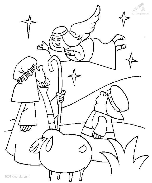Kleurplaten Kerst De Wijzen.Kleurplaat Kerst Engelen Engel En De 3 Wijzen