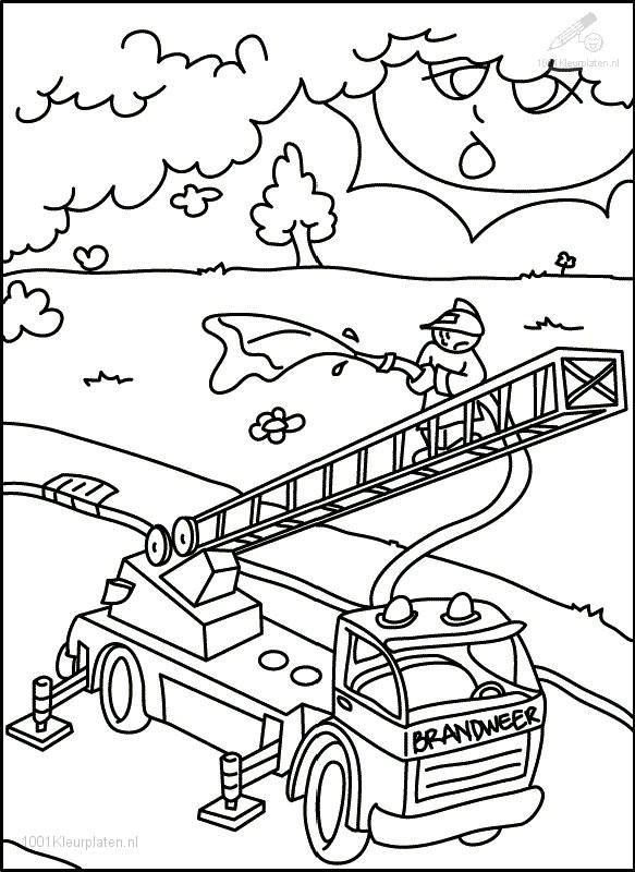 Kleurplaat Beroepen Brandweer Kleurplaat Brandweerauto