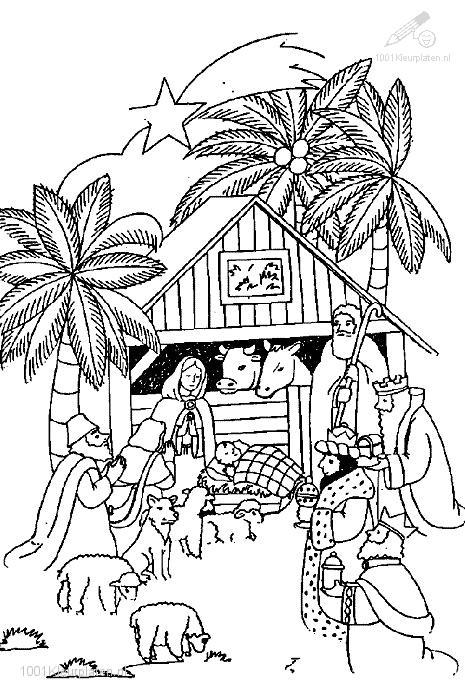 Kleurplaat Jezus Kerststal