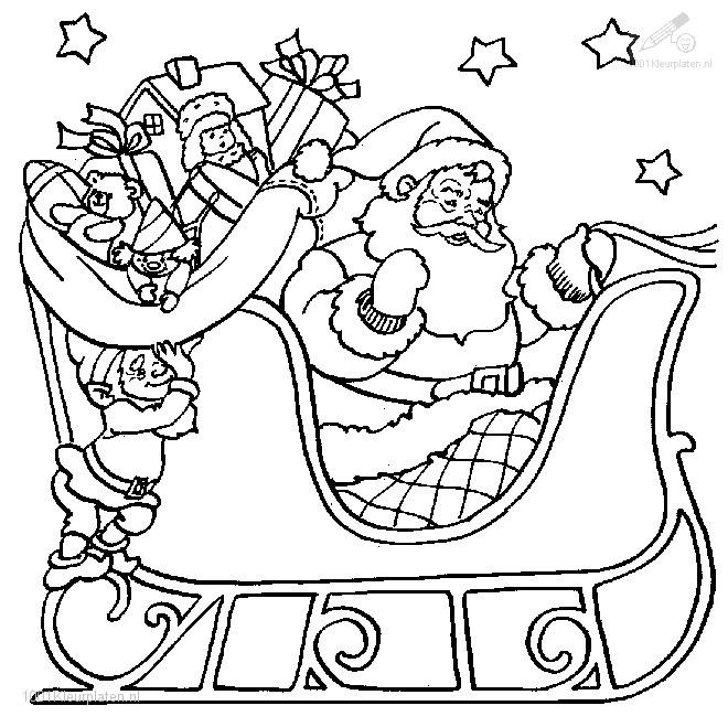 Kleurplaten De Kerstman.Kleurplaat Kerst Slee Kleurplaat Kerstman Slee