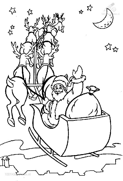 Kleurplaten Winter Slee.Kleurplaat Kerst Slee Kleurplaat Kerstman Slee
