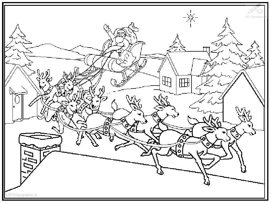 Kleurplaten Kerstman Met Rendieren Archidev