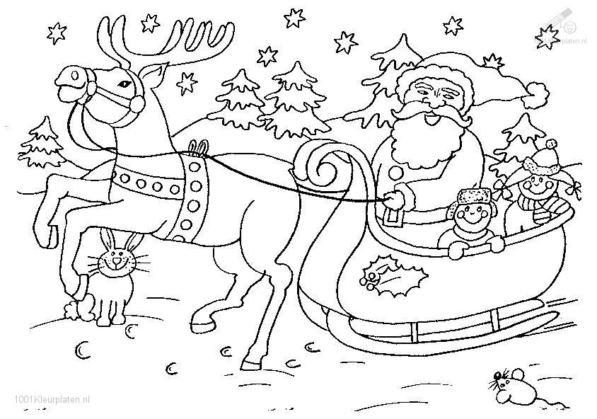 Kleurplaat Kerstman Met Arreslee Archidev
