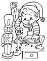 Elf maakt kerst kado >> Elf maakt kerst kadootjes kleurplaat
