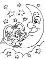 Engel op de maan>> Kerst engel op de maan kleurplaat