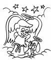 Kleurplaat kerst engel