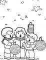 Kerst liedjes zingen>> Leuke kleurplaat met kerst liedjes zingende kinderen