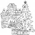 Kleurplaat kerstboom voor de open haard >> Kleurplaat kerstboom voor de openhaard