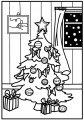 Versierde Kerstboom>> Versierde Kerstboom kleurplaat met pakjes