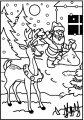 Kleurplaat Kerstman en Rudolf