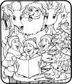 Kerstman en rendier kleurplaat>> De kerstman en zijn rendieren zingen kerstliedjes op deze kleurplaat