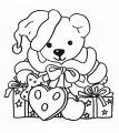 Beer met kerstpakjes>> Kleurplaat beer met kerst kadootjes