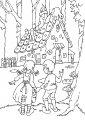 Kleurplaat Hans en Grietje >> Kleurplaat Hans en Grietje knibbel knabbel kneusje, wie knabbelt er aan mijn huisje