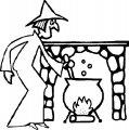 Kleurplaat Heks kookt toverdrank>> Kleurplaat Heks kookt toverdrank