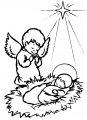Jezus en een Engel>> Kleurplaat Jezus en een engeltje