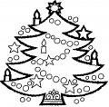 Kleurplaat Kerstboom met lampjes