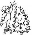 Kleurplaat Kerstboom optuigen >> Kleurplaat Kerstboom optuigen