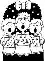 Zingen onder de kerstkrans>> Kleurplaat liedjes zingen onder de kerstkrant