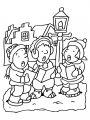 Kleurplaat kerstliedjes >> Buiten kerst liedjes zingen