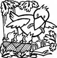 Vogel voert kleintjes >> Kleurplaat Vogel voert kleintjes