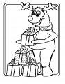 Rendier met pakjes >> Kleurplaat van rendier met kadootjes