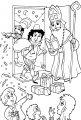 Piet strooit snoep >> Kleurplaat Piet strooit snoep