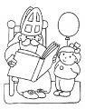 Sinterklaas leest het grote boek>> Kleurplaat Sinterklaas leest het grote boek