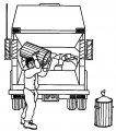 Kleurplaat Vuilnisman>> De vuilnisman gooit vuilnis in de vuilniswagen