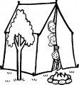 Kleurplaat op de camping>> Kleurplaat op de camping met de tent