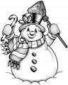 Winter Sneeuwpop Kleurplaat